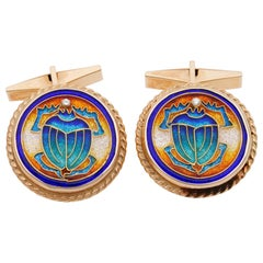 Art Deco Signed Scarab Enameled Diamond 18 Karat Large Gent Cufflinks
