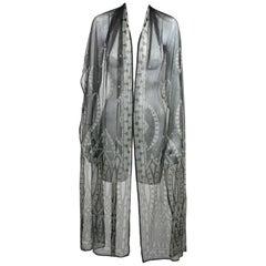 Art Deco Silk Tulle Beaded Shawl