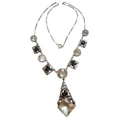 Art Deco Silver and Crystal Roses Necklace