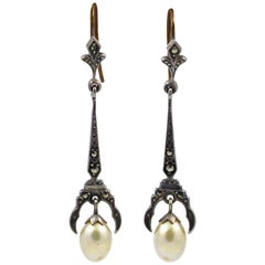 Art Deco Silver and Marcasite Earrings set with Cream Faux Pearl Drops