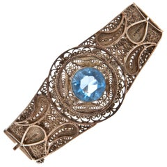 Art Deco Silver Blue Stone Filigree Bracelet