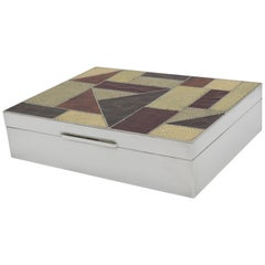 Art Deco Silver Box with Exotic Skin Patchwork