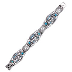 Art Deco Silver Bracelet with Native Americans Austria
