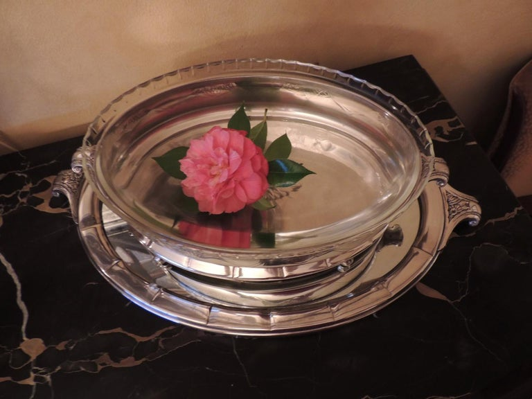 Art Deco Silver Centerpiece and Mirrored Tray In Good Condition For Sale In Oakland, CA
