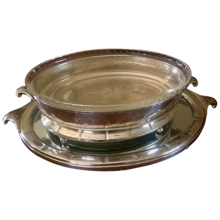 Art Deco Silver Centerpiece and Mirrored Tray For Sale