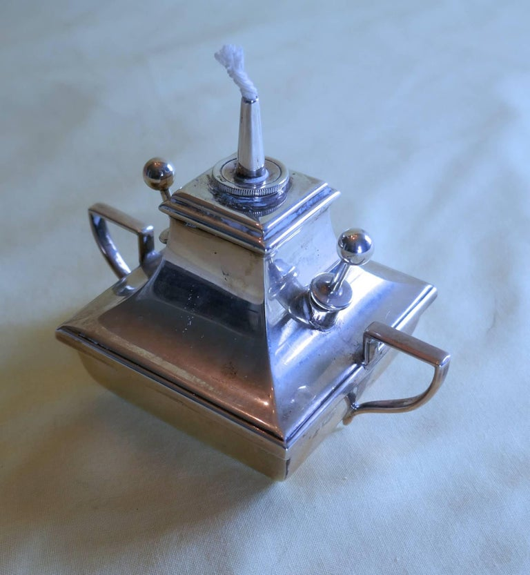 20th Century Art Deco Silver Cigar Table Lighter For Sale
