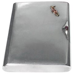 Art Deco Silver Cigarette Case Box, Estonia, circa 1925