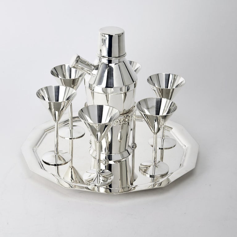 Art Deco Silver Cocktail Set In Good Condition For Sale In London, GB