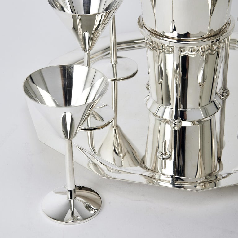 Mid-20th Century Art Deco Silver Cocktail Set For Sale