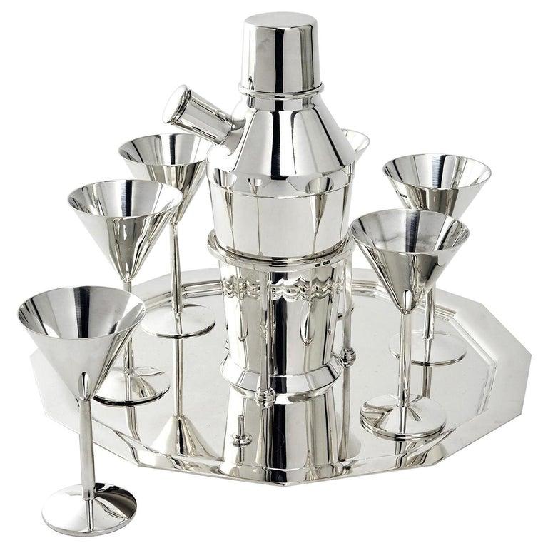 Art Deco Silver Cocktail Set For Sale