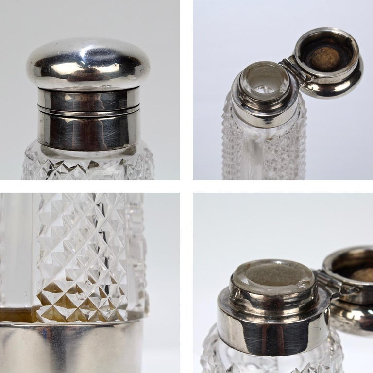 Art Deco Silver and Cut Glass Liquor or Whisky Flask For Sale 11