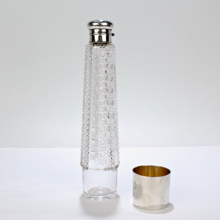 Art Deco Silver and Cut Glass Liquor or Whisky Flask For Sale 1