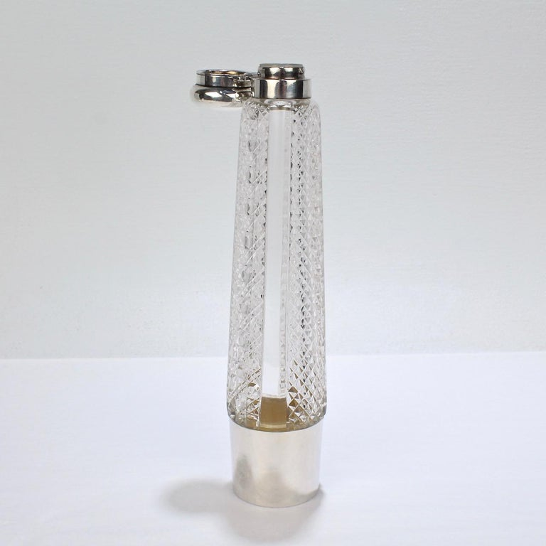 Art Deco Silver and Cut Glass Liquor or Whisky Flask For Sale 3
