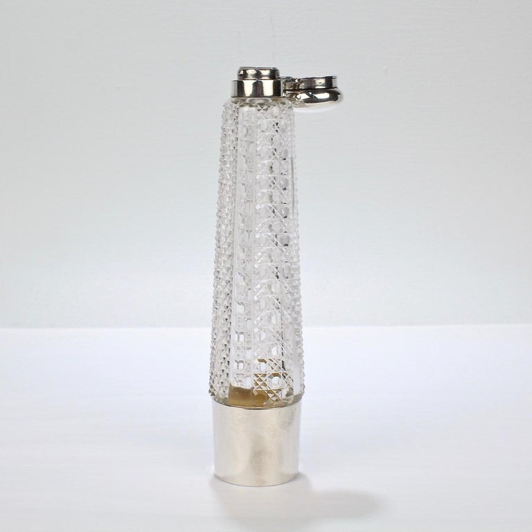 Art Deco Silver and Cut Glass Liquor or Whisky Flask For Sale 4