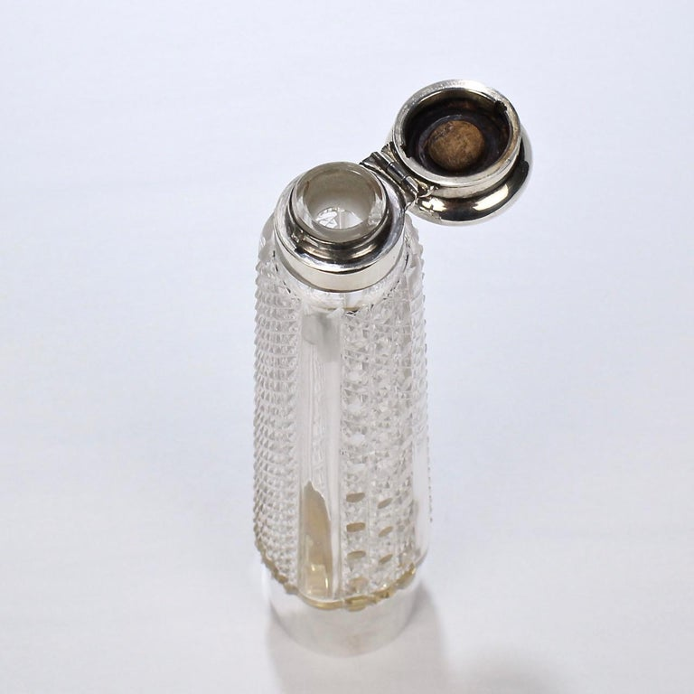 Art Deco Silver and Cut Glass Liquor or Whisky Flask For Sale 5
