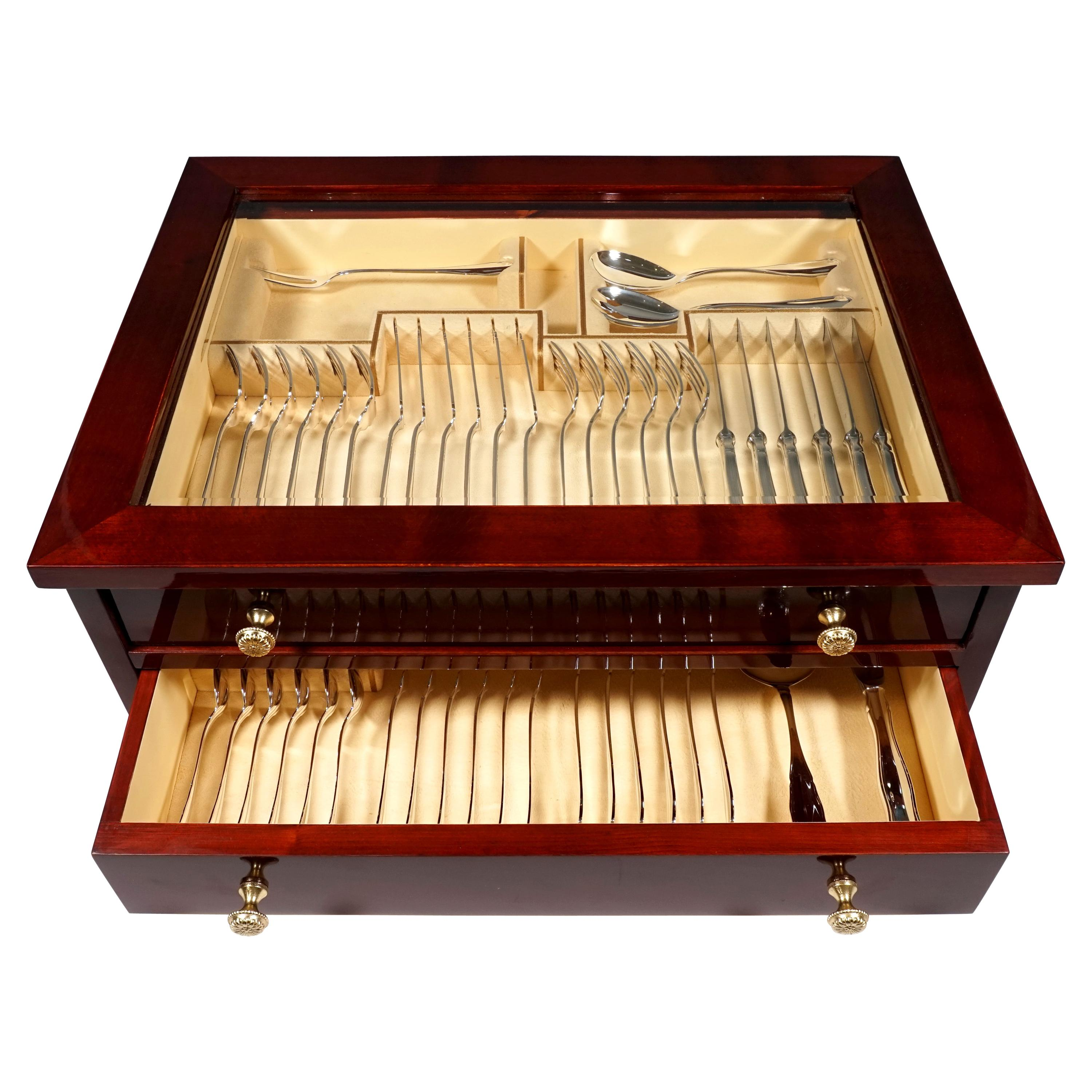 Art Deco Silver Cutlery Set For 6 People in Showcase, Germany & Vienna, ca 1925