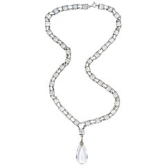 Art Deco  Silver Link Chain Necklace Square Glass Crystals Teardrop Pendant