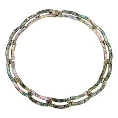 Art Deco Silver Necklace with Mother of Pearl Inlay by Taxco Mexico