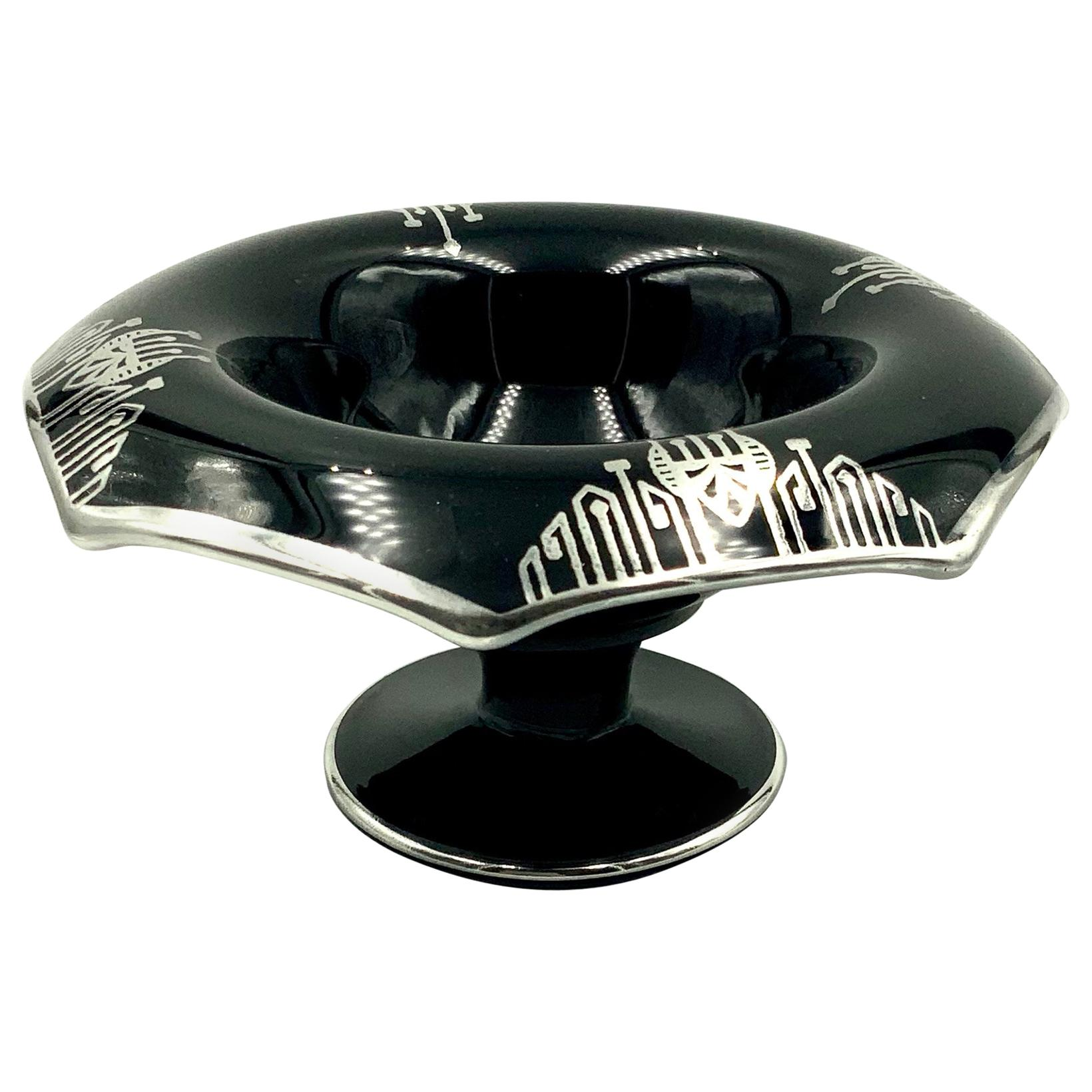 Art Deco Silver Overlay Black Amethyst Glass Octagon Bowl Compote
