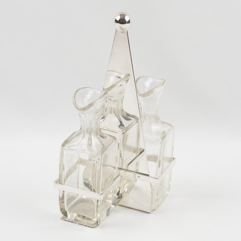 German Art Deco Silver Plate and Crystal Oil and Vinegar Cruet Set For Sale