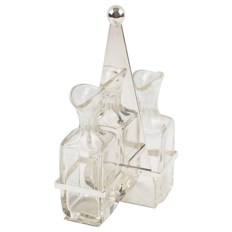 Art Deco Silver Plate and Crystal Oil and Vinegar Cruet Set For Sale