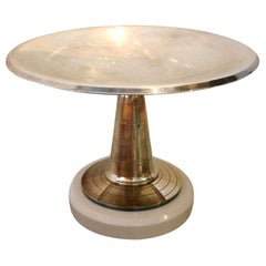 Art Deco Silver Plate and Wood Pedestal Bowl French Vintage