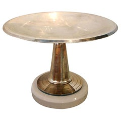 Art Deco Silver-Plate and Wood Pedestal Dish French Vintage