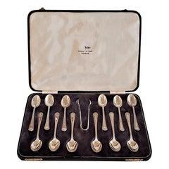 Art Deco Silver Plate Tea Spoon Set, Walker & Hall, Sheffield