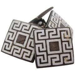 Art Deco Silver Plate White Enamel Geometric Cufflinks