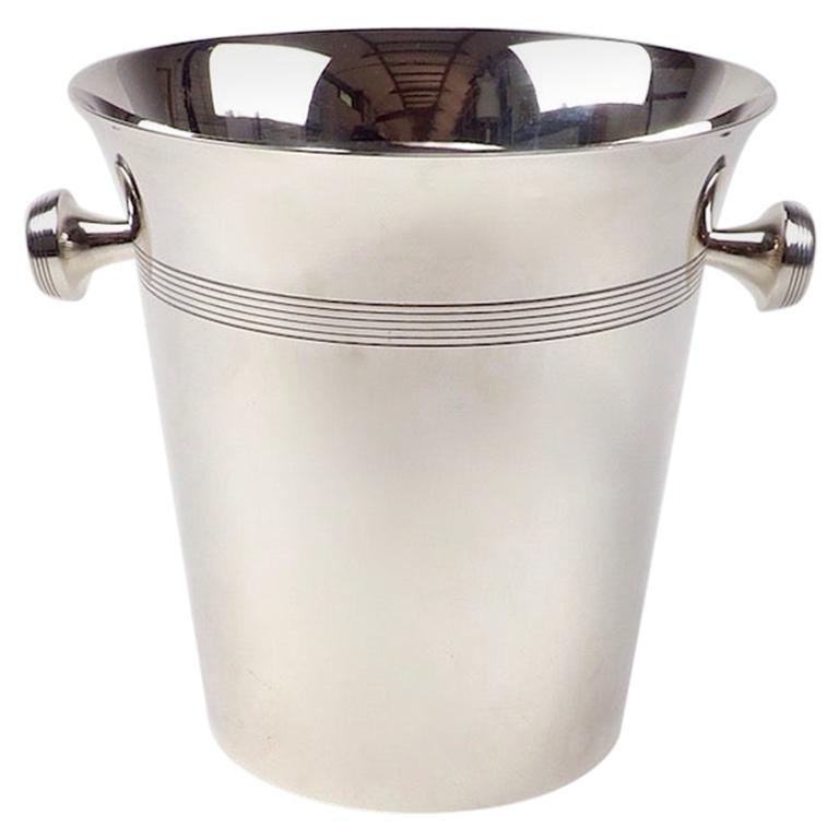 Art Deco Silver Plate Wine Cooler of Elegant Design For Sale