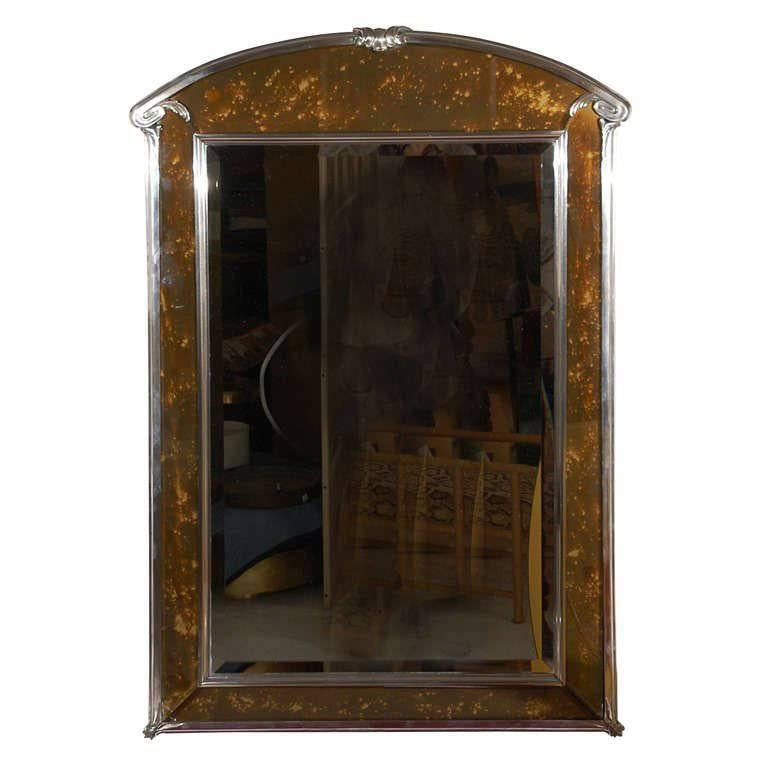 Art Deco Silver Plated Bronze and Tortoise Glass Wall Mirror