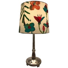 Art Deco Silver Plated Danish Table Lamp with a Limited Edition ArtbyMaj Shade