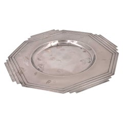 Art Deco Silver Plated Decorative Plate by Larry Laslo For Towle