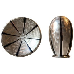 Art Deco Silver Plated Ikora Vase & Bowl from WMF, 1930s, Set of Two