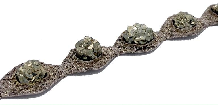 Women's or Men's Art Deco Silver Pyrite Cubic Crystal Bracelet For Sale