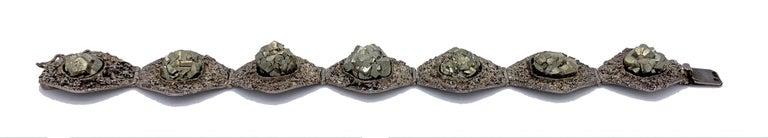 Art Deco Silver Pyrite Cubic Crystal Bracelet For Sale 1