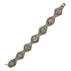 Art Deco Silver Pyrite Cubic Crystal Bracelet