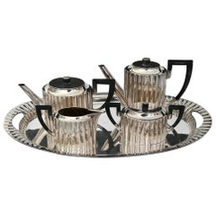 Art Deco Silver Tea and Coffee Set with Tray 5 Pieces, Silver 4.2 Kg