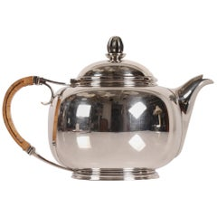 Art Deco Silver Teapot 830s with Straw Handle Made by Cohr Silver, Denmark, 1939