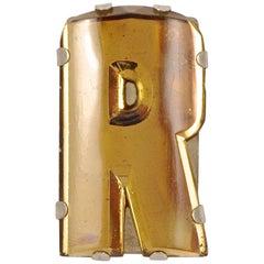 Art Deco Silver Tone and Peach Glass Mirrored Initial R Dress Clip