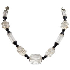 Art Deco Silver Tone, Black and Clear Glass Bead Necklace, with a Barrel Clasp