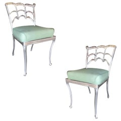 Art Deco Silver Tone Casted Aluminum Spiderweb Side Chair, Pair