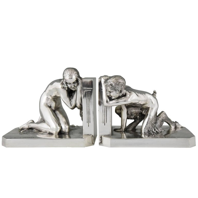 Art Deco Silvered Bronze Bookends Nude and Satyr Raoul Benard, France, 1930