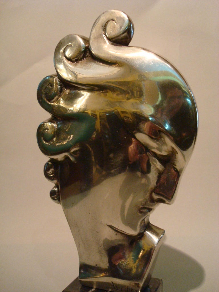 French Art Deco Silvered Bronze Bust Sculpture of a Woman / France, 1930 For Sale