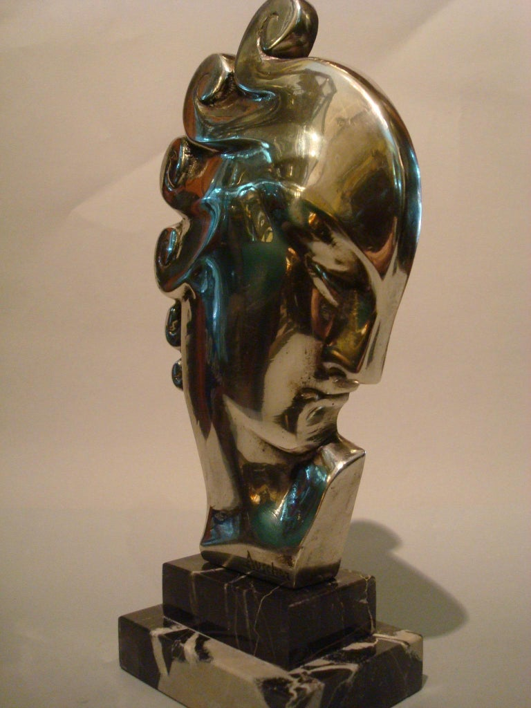 20th Century Art Deco Silvered Bronze Bust Sculpture of a Woman / France, 1930 For Sale