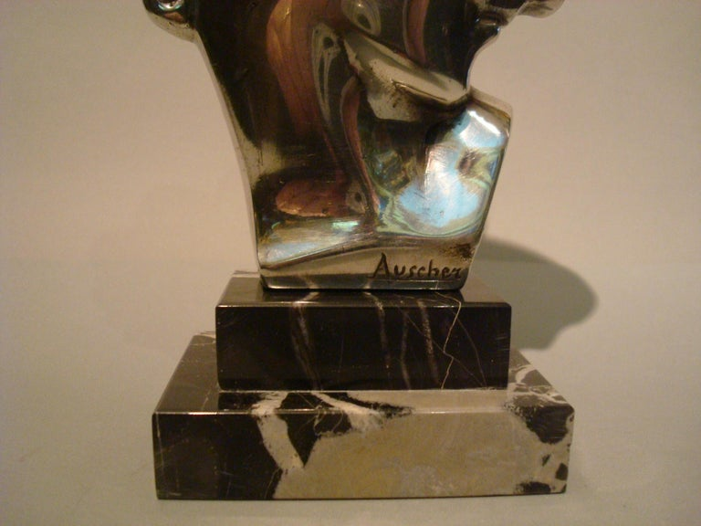 Marble Art Deco Silvered Bronze Bust Sculpture of a Woman / France, 1930 For Sale