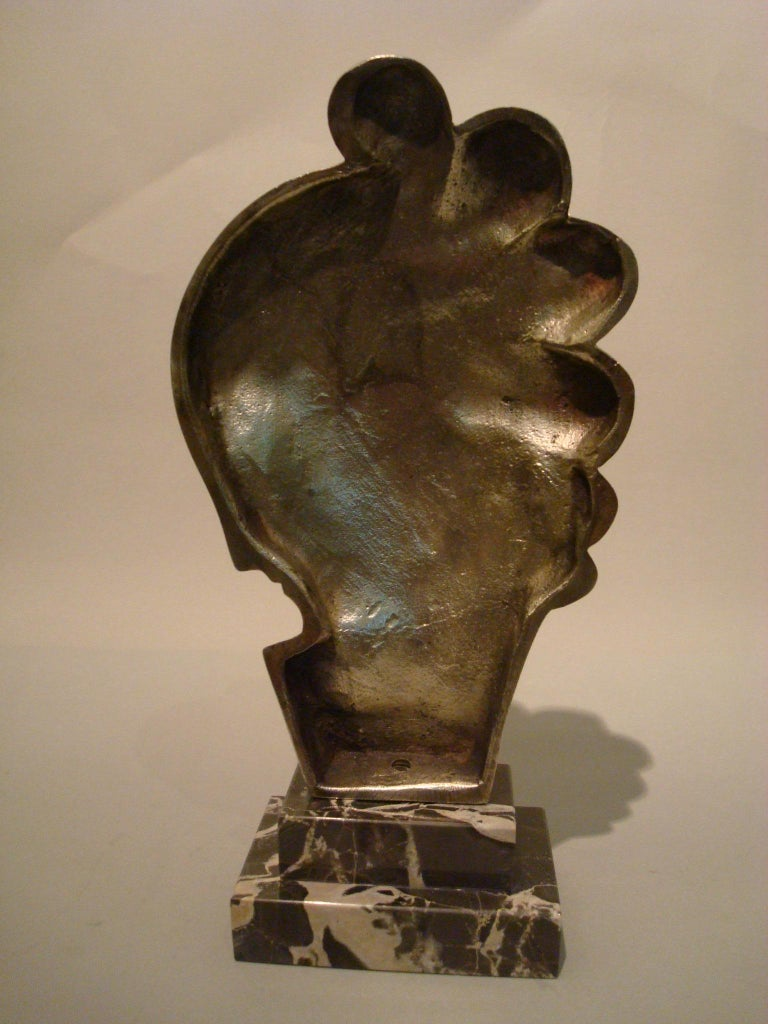Art Deco Silvered Bronze Bust Sculpture of a Woman / France, 1930 For Sale 1