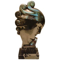Art Deco Silvered Bronze Bust Sculpture of a Woman / France, 1930
