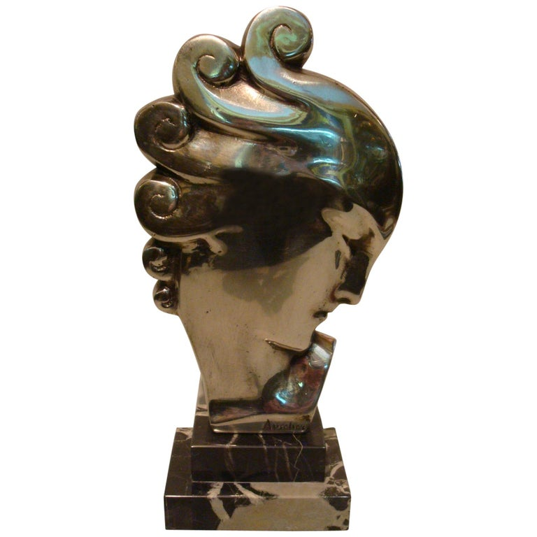 Art Deco Silvered Bronze Bust Sculpture of a Woman / France, 1930 For Sale