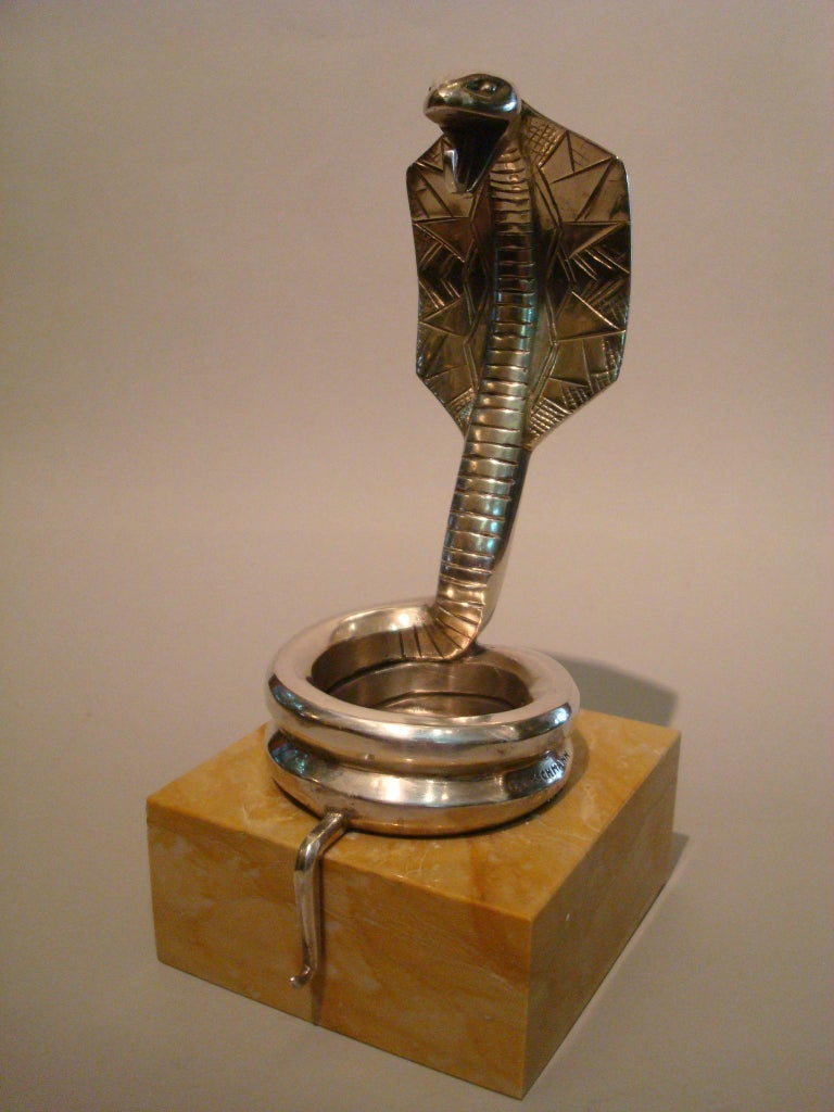 French Art Deco Silvered Bronze Cobra Paperweight or Watch Stand by Rischmann France For Sale